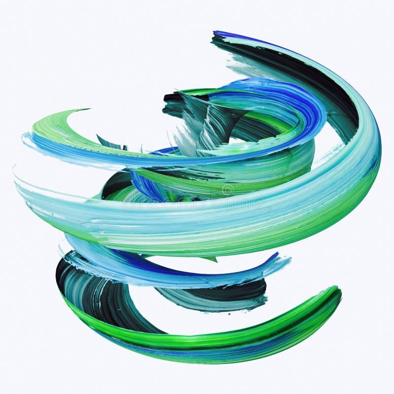 3d tolkningen, abstrakt vriden borsteslaglängd, målar färgstänk, plaskar, den färgrika krullningen, den konstnärliga spiralen som royaltyfria bilder