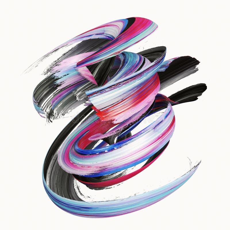3d tolkningen, abstrakt vriden borsteslaglängd, målar färgstänk, plaskar, den färgrika krullningen, den konstnärliga spiralen som stock illustrationer