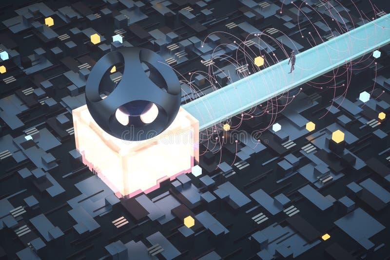 3d tolkningen, kuber stiger ombord utrymme, fantasivärld royaltyfri illustrationer