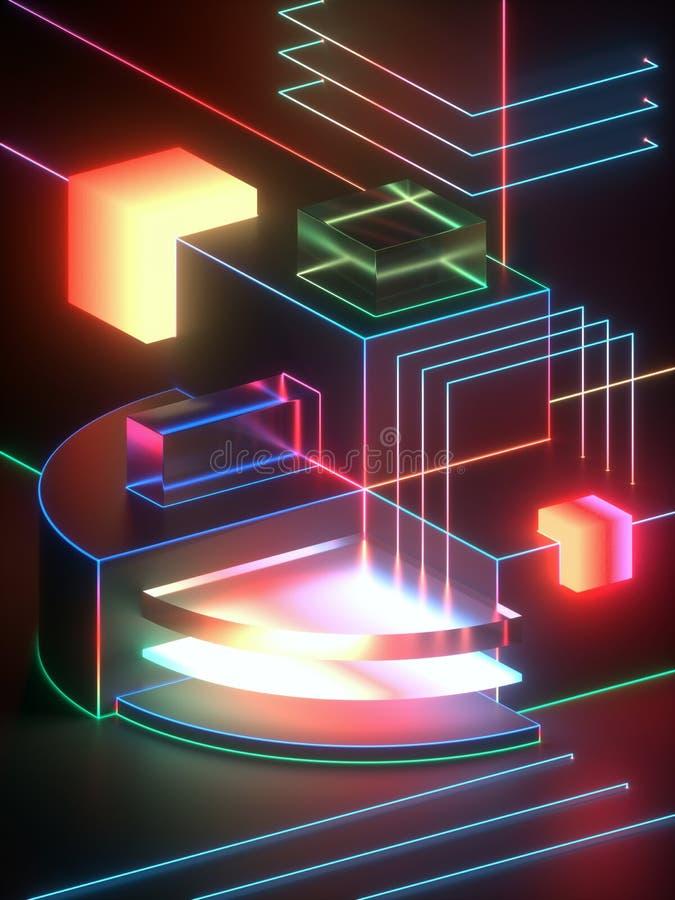 3d tolkningen, modern abstrakt geometrisk bakgrund, minimalistic tomt ställer ut, glödande neonljus, primitiva arkitekturformer royaltyfri illustrationer
