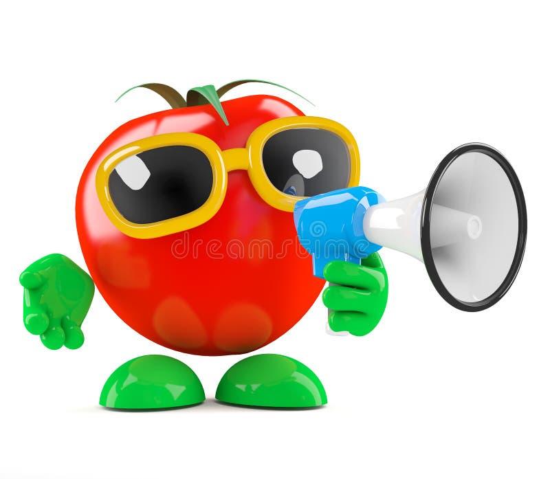 3d Tomatenaankondiging stock illustratie