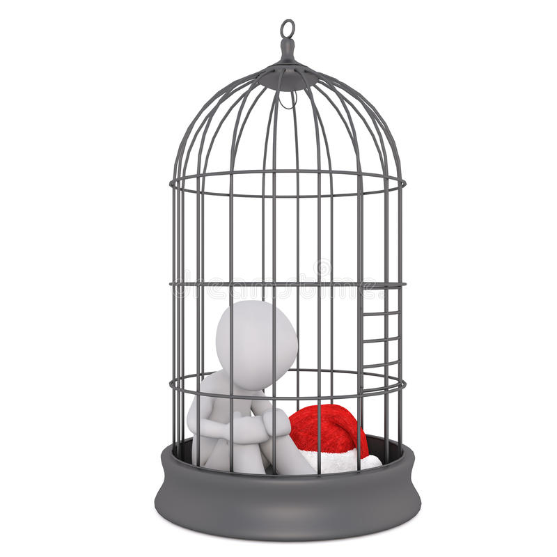 3d toon figure with Santa hat in bird cage. Captive 3d toon figure with Santa hat sat in bird cage on white vector illustration