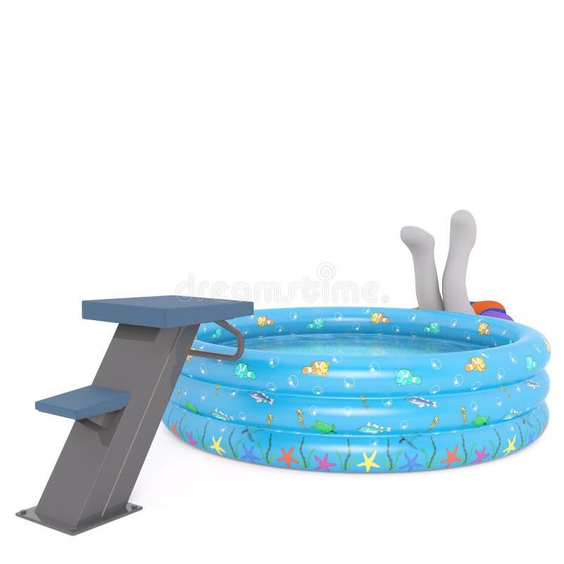 3d Toon nurek brakuje pływackiego basenu royalty ilustracja