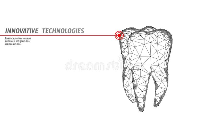 3d tooth innovation laser dentistry polygonal concept. Stomatology symbol low poly triangle abstract oral dental medical stock illustration