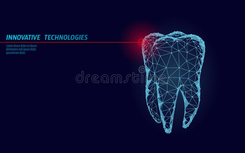 3d tooth innovation laser dentistry polygonal concept. Stomatology symbol low poly triangle abstract oral dental medical. Care business. Connected dot particle stock illustration