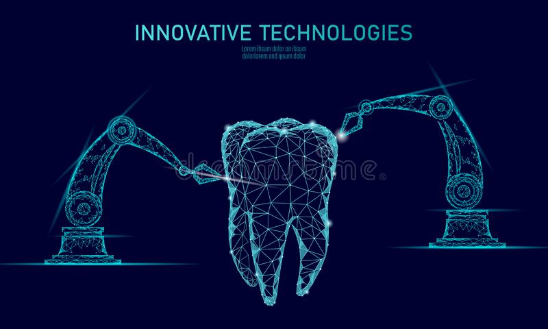 3d tooth innovation robot arm polygonal concept. Stomatology symbol low poly triangle abstract oral dental medical care. Business. Connected dot particle modern royalty free illustration