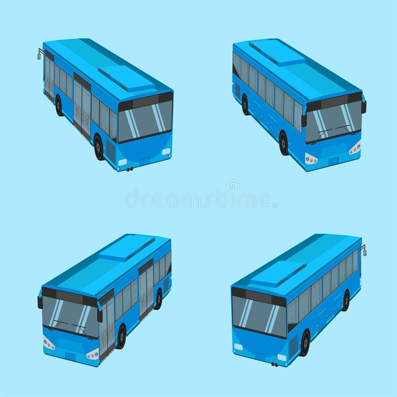 3d top view the blue bus NGV driver fare passenger autobus omnibus coach rail bench chair stool armchair seat mattress bolster. Hassock pad vector illustration stock illustration
