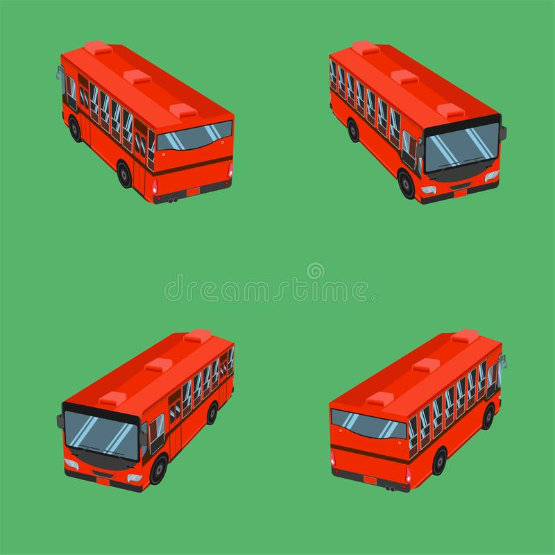 3d top view thai dark orange bus transport car vehicle driver fare passenger autobus omnibus coach rail bench chair stool armchair stock illustration