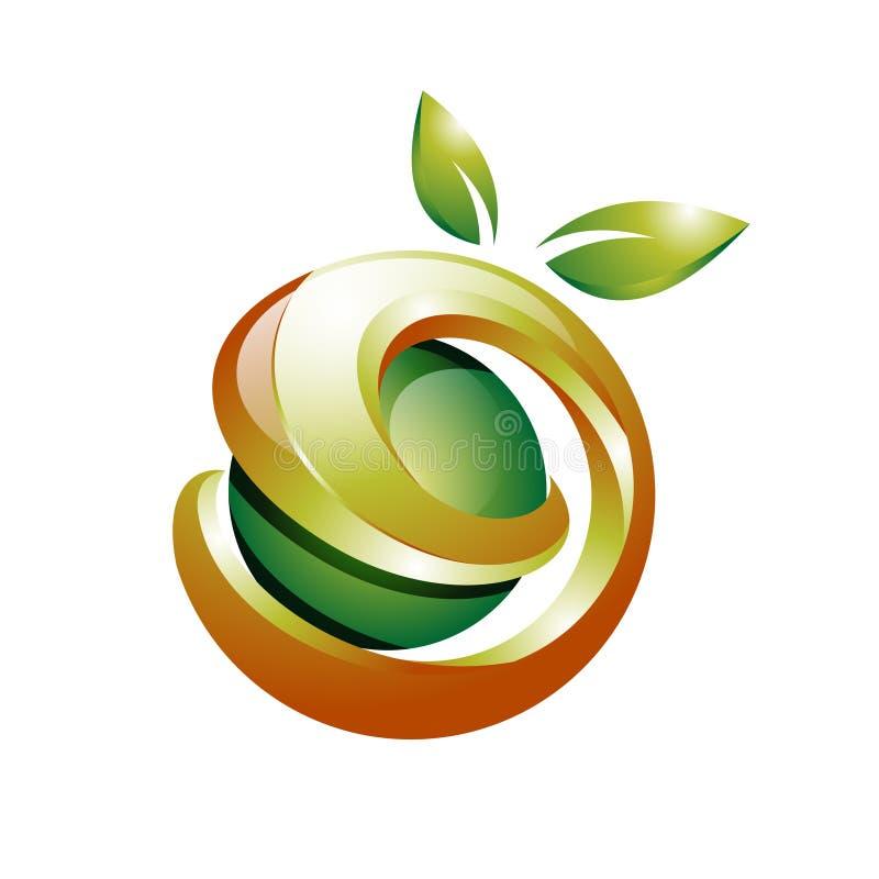 3D torció el logotipo orgánico verde de la salud de la fruta natural ilustración del vector