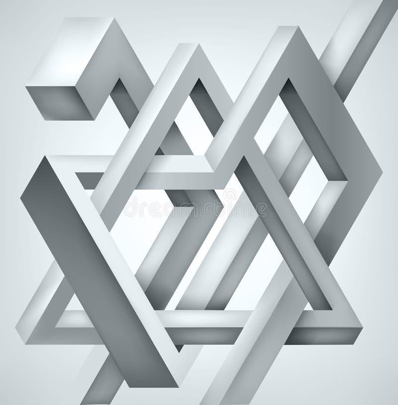3D torció la composición de formas abstractas Las formas desconciertan Construcción irreal del vector stock de ilustración