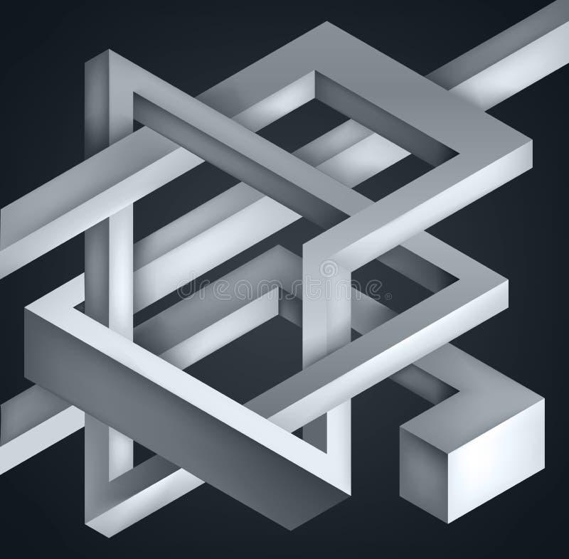 3D torció la composición de formas abstractas Las formas desconciertan Construcción irreal del vector en fondo oscuro stock de ilustración
