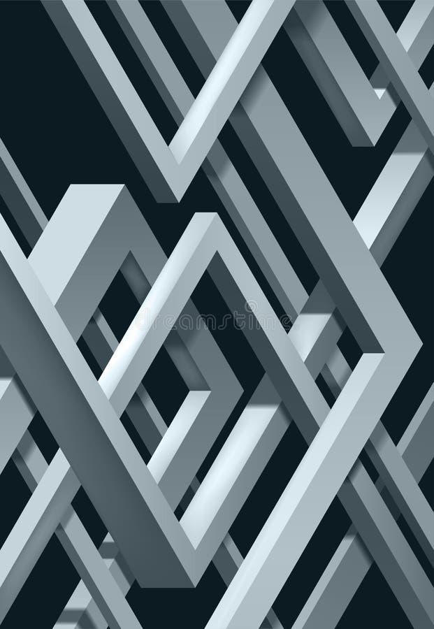 3D torció la composición de las formas abstractas del plexo Formas del laberinto Construcción irreal del vector en fondo oscuro ilustración del vector