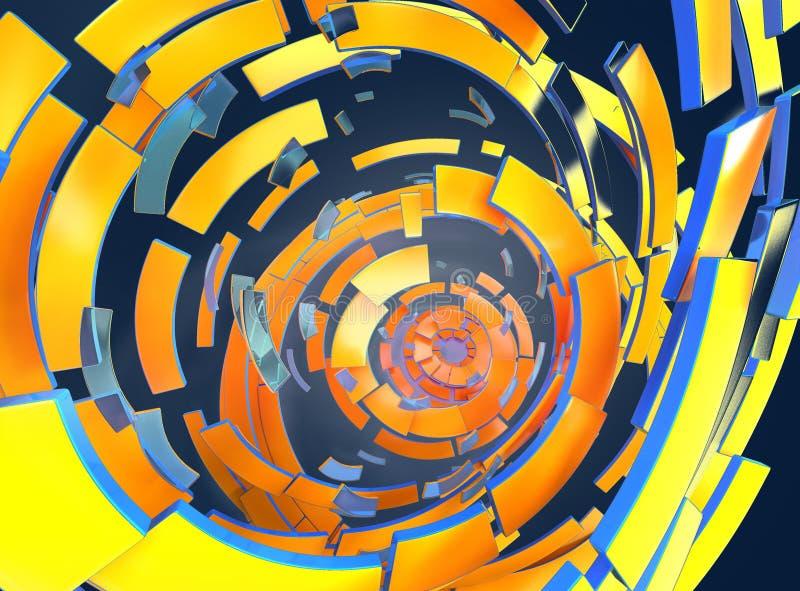 3d tornada abstrakta ilustracyjne grafika Błękitny kolor żółty ilustracja wektor