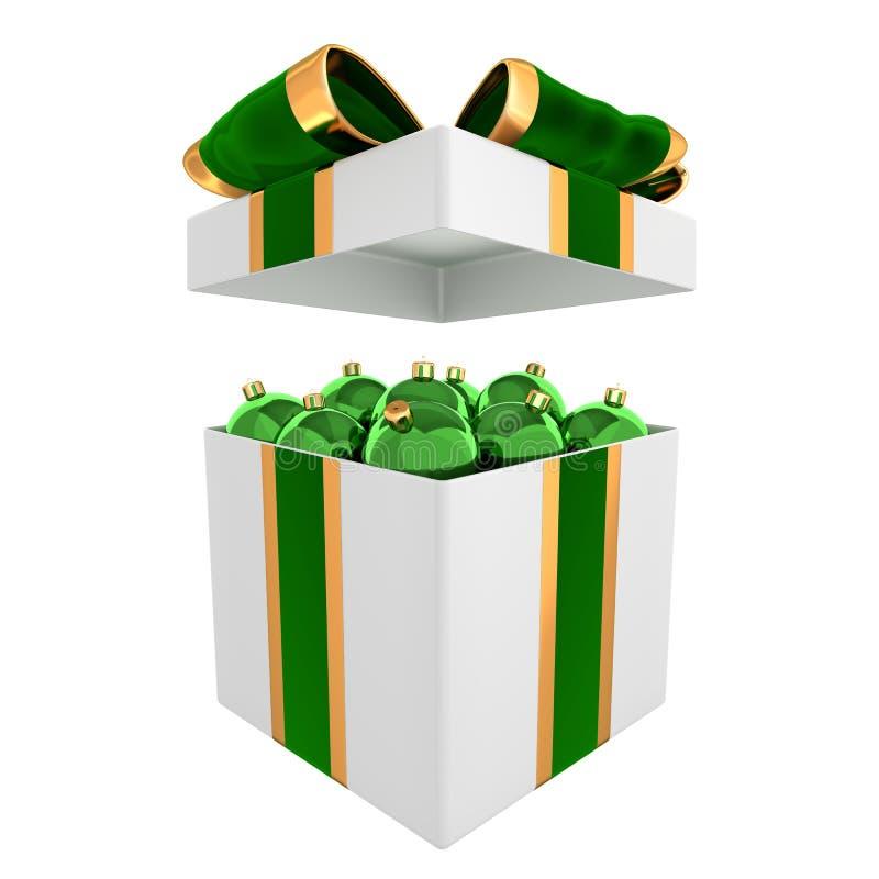 3D tornam da caixa completo de bolas do Natal ilustração royalty free