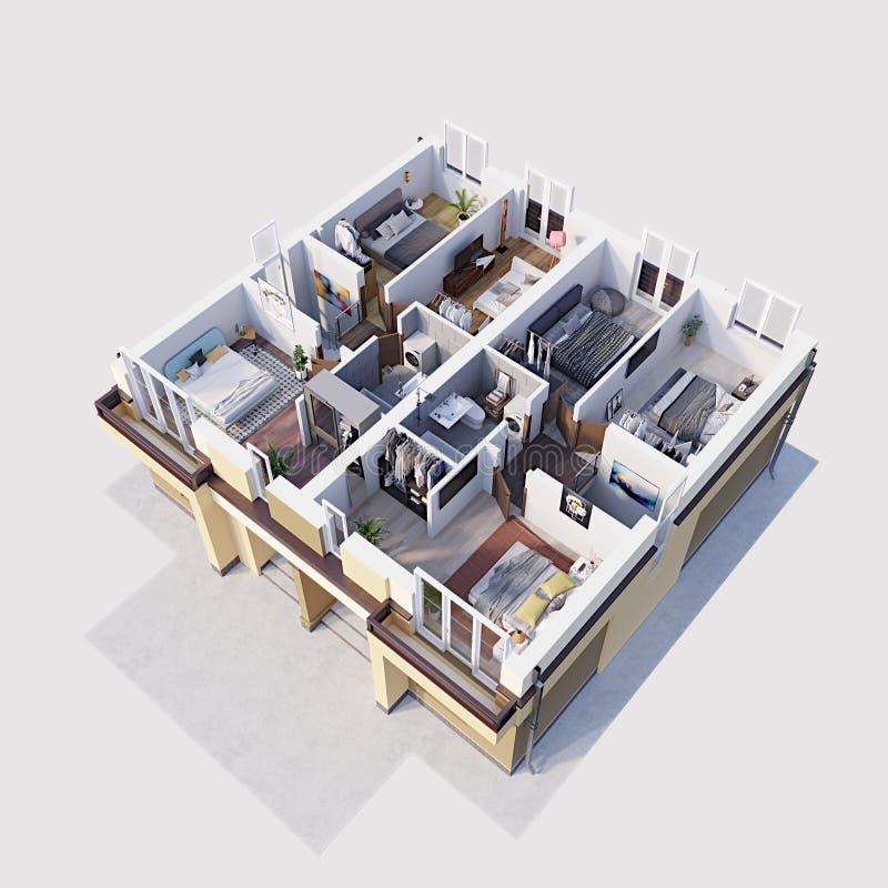 3d tornam a planta baixa residencial e a disposição de apartamentos modernos, isométricas ilustração royalty free