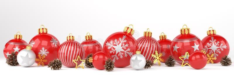 3d tornam - quinquilharias vermelhas e de prata do Natal sobre o backgrou branco ilustração stock