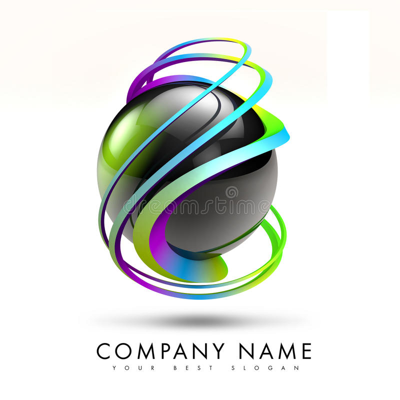 3D Torsion Logo Design Illustration Stock