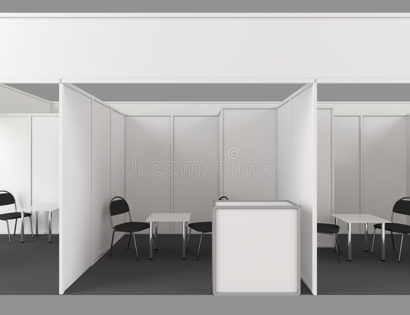 3d Trade show booth with 3 segments 3d on background. Design stock illustration