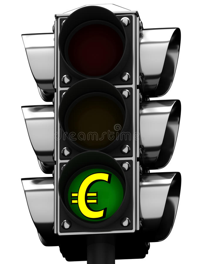 3D Traffic light and dollar sign royalty free illustration