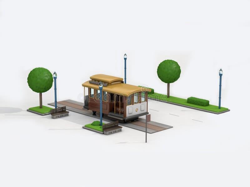 3d tramwaju, pociągu kreskówki stylu bielu tło rendring/ ilustracji