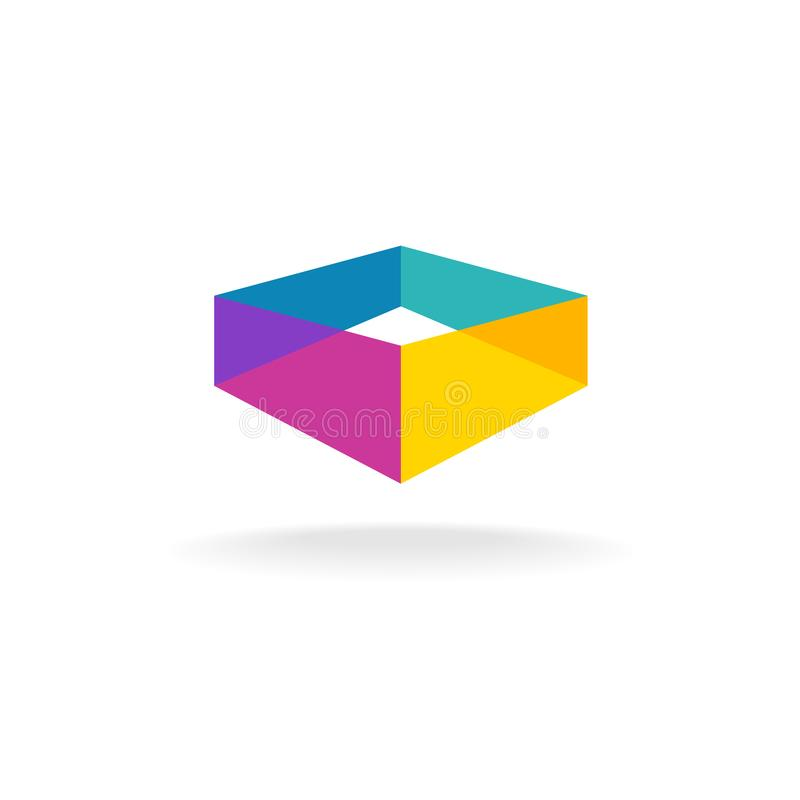 3d transparent abstract colorful perspective box logo. Color overlay rectangles symbol vector illustration