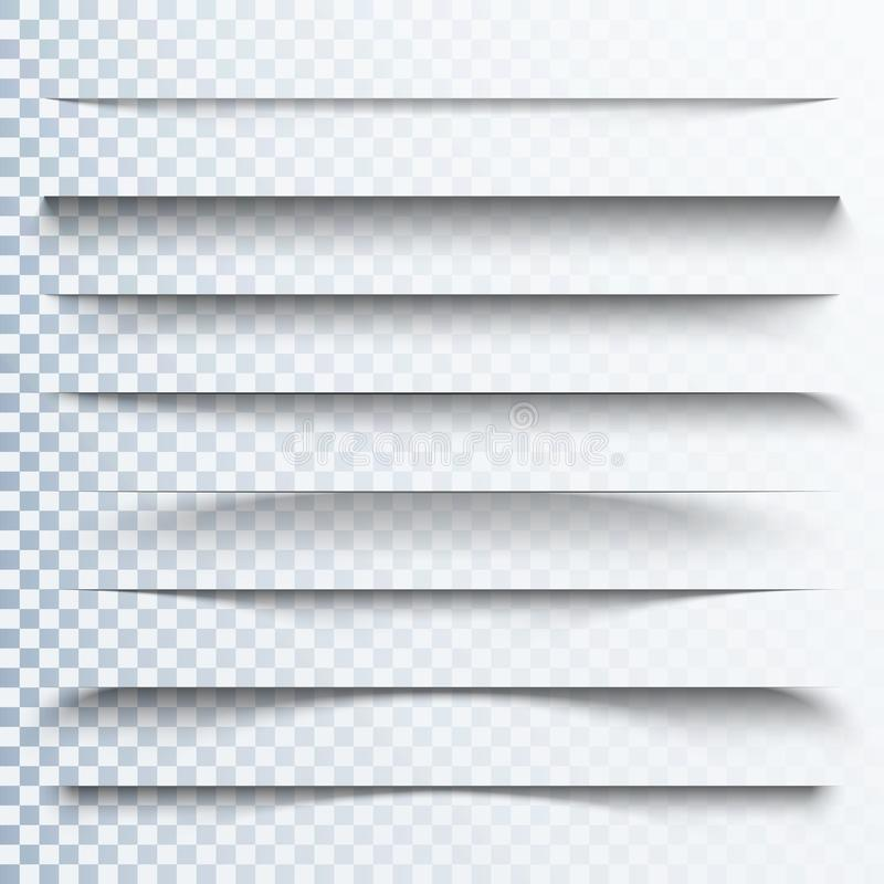 3d transparent shadows effect. Page dividers with transparent shadows. Pages separation set. Transparent shadow vector illustration