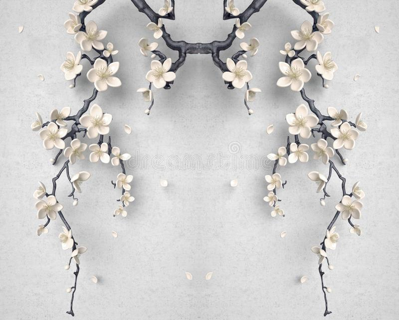 3d tree and flowers decoration on gray white background with black stem . 3d mural gray wallpaper.  royalty free stock image