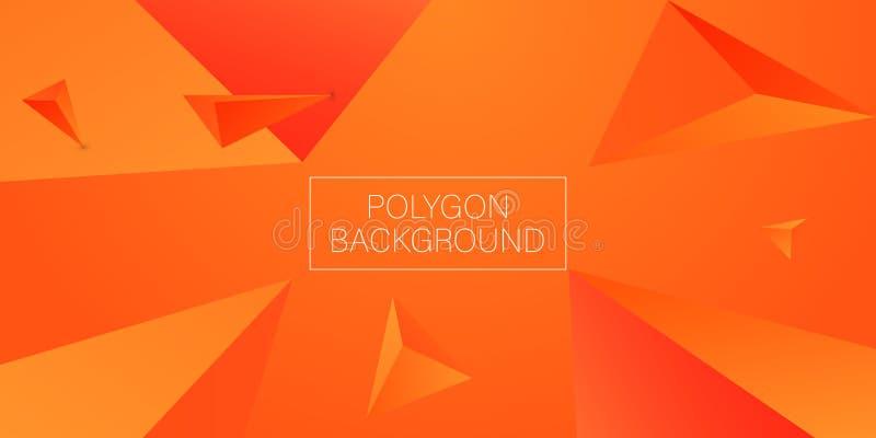3d triangle polygon orange background. Vector stock illustration