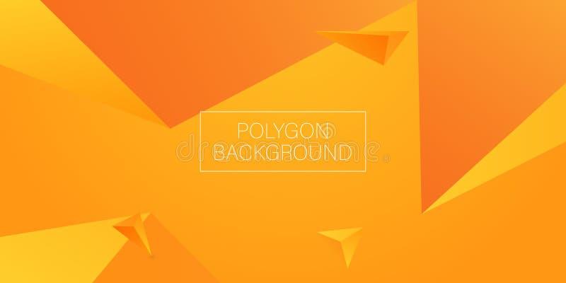 3d triangle polygon orange background. Vector royalty free illustration