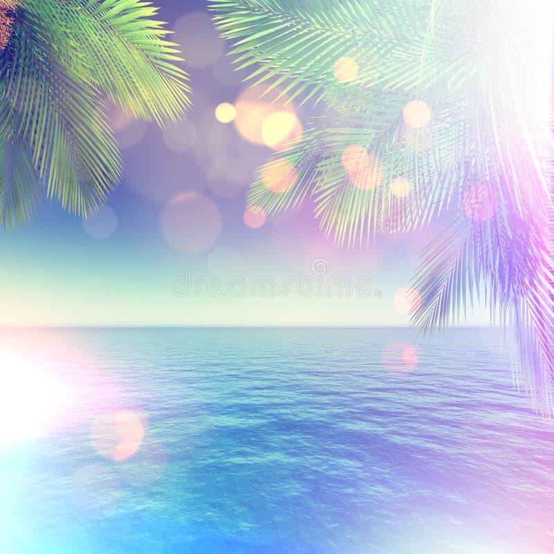 3D tropisch landschap met palmen en oceaan en retro effect royalty-vrije illustratie