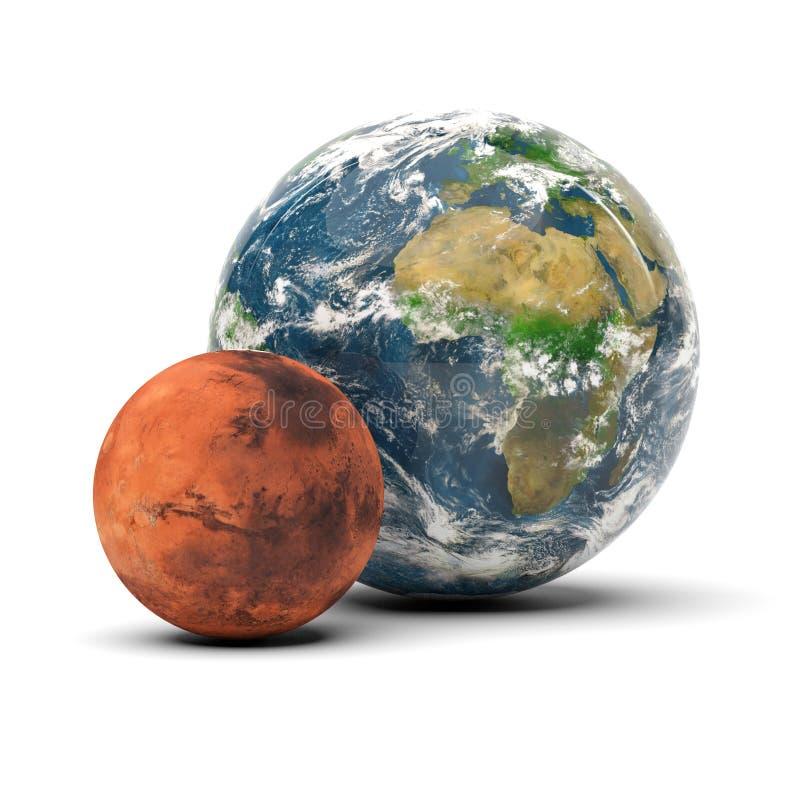 3D trouble et planètes de la terre sur le fond blanc illustration stock
