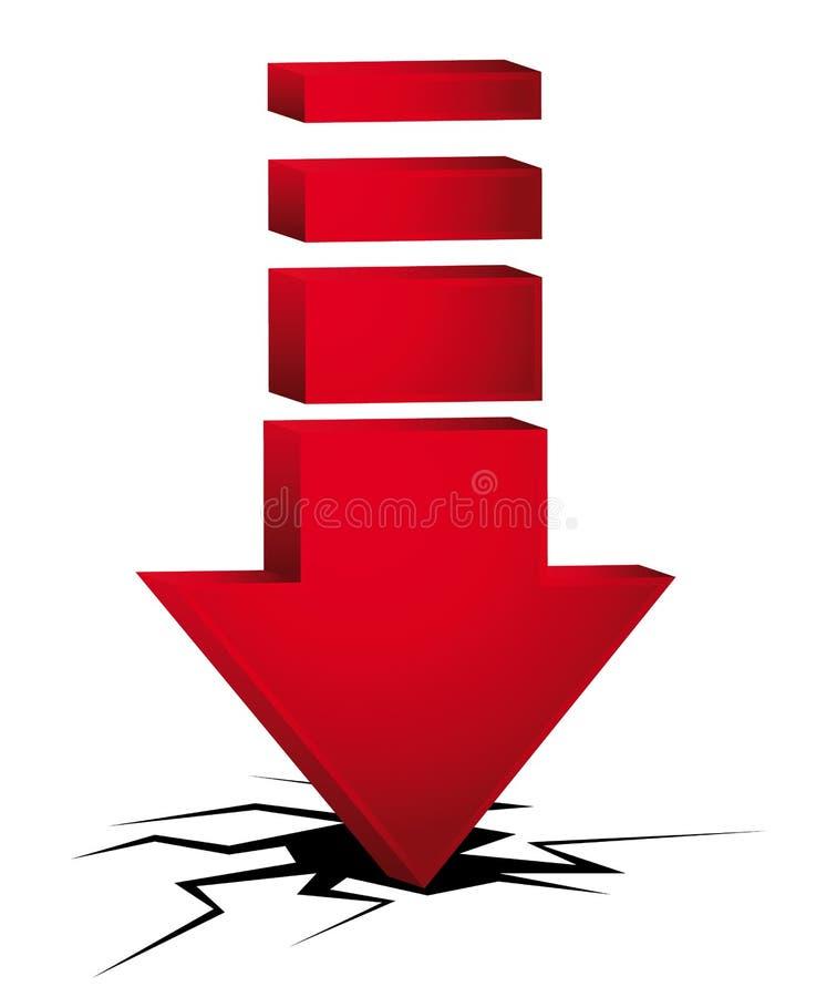 3d trzaska czerwony strzałkowaty pojęcie ilustracja wektor