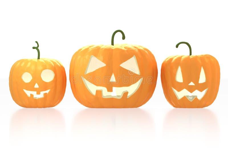 3D trzy Halloweenowe banie - lampiony na białym tle ilustracji