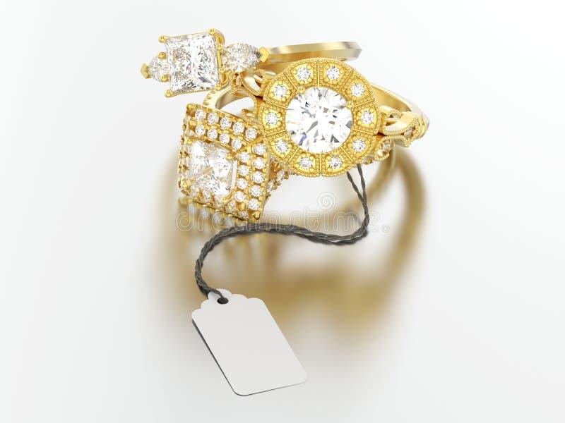 3D trzy ilustraci żółtego złota różny zaręczynowy diament r royalty ilustracja