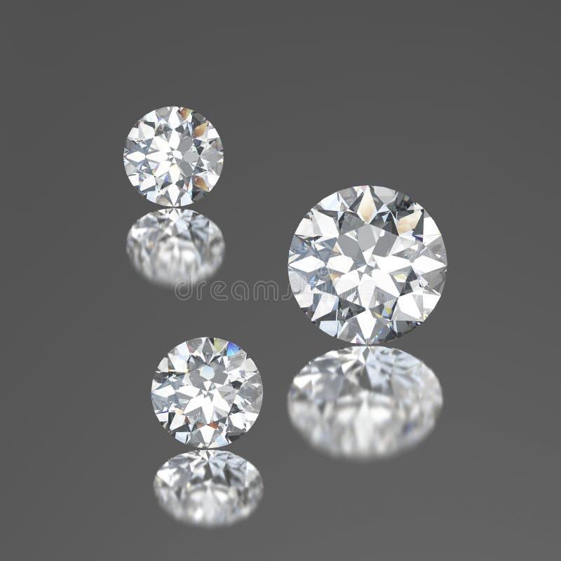 3D trzy ilustraci diamenty z odbiciem na szarym tle royalty ilustracja