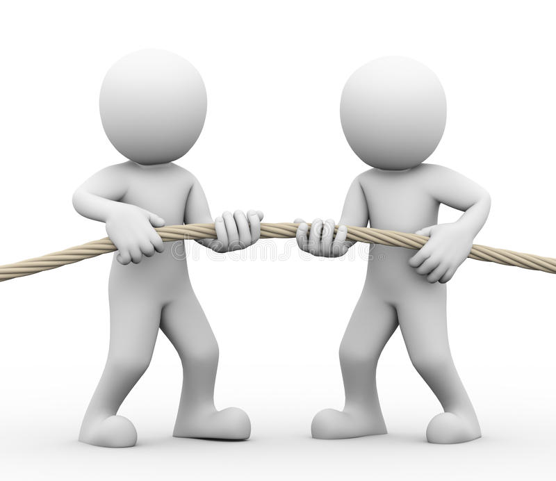 3d tug of war among people. 3d rendering of man pulling rope showing concept of tug of war among people. Concept of conflict and dispute between couple stock illustration