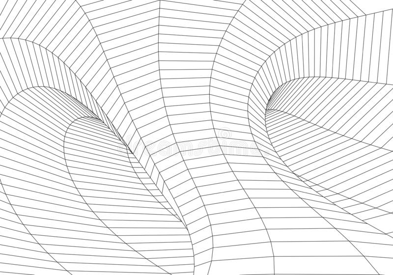 3D tunnel. Tunnel or wormhole. Grid texture. Abstract tunnel. 3D vector illustration tunnel stock illustration