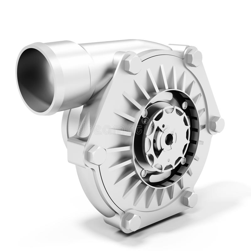 3d turbine turbo charger, car booster stock illustration