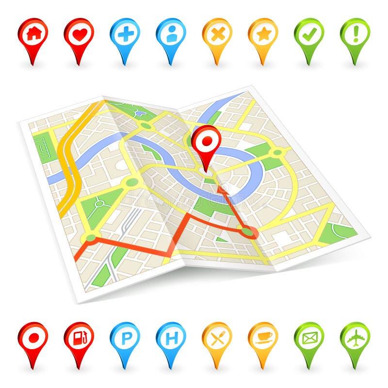 3D turist Citymap med viktiga ställemarkörer stock illustrationer