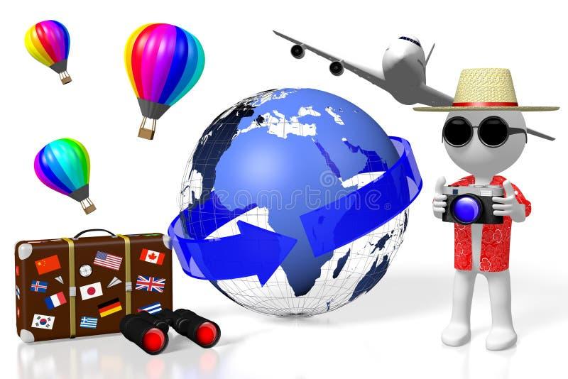 3D turista, concepto del viaje libre illustration