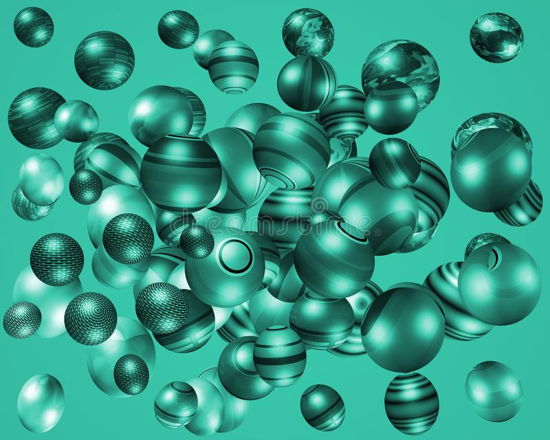 3D turquoise coloured spheres vector illustration