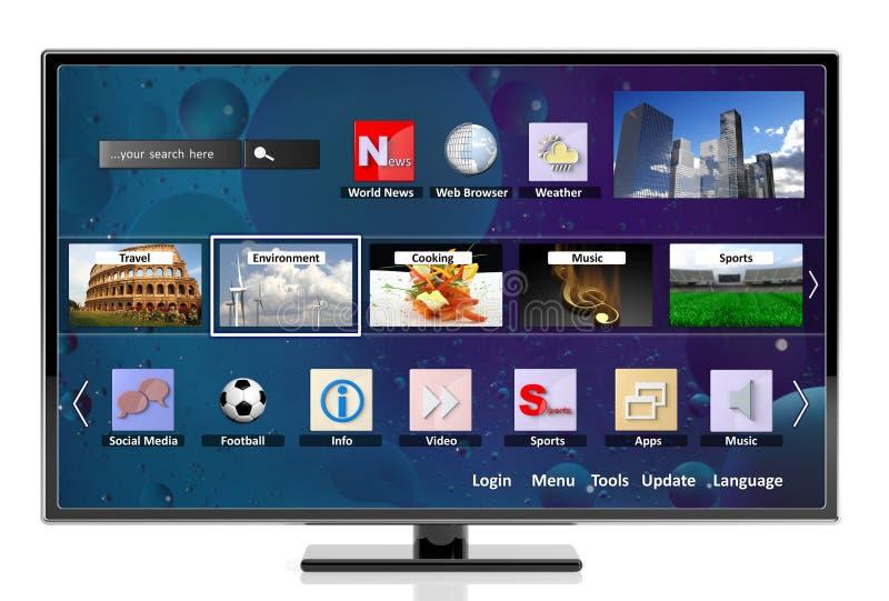 3D TV futée avec des icônes illustration de vecteur