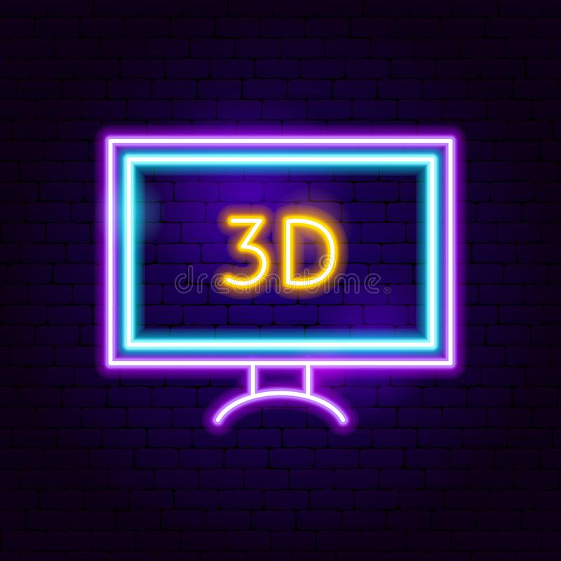 3D TV Neon Sign. Vector Illustration of Cinema Promotion royalty free illustration