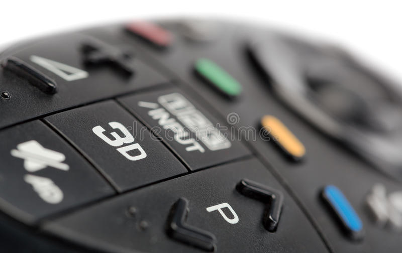 3d on the TV remote control royalty free stock images