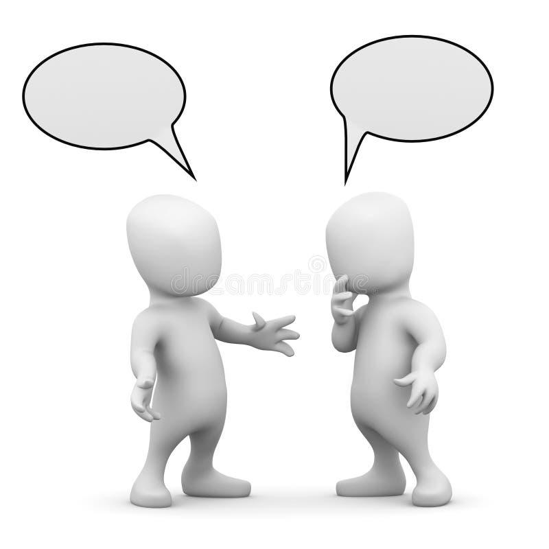 3d Twee kleine mensen die aan elkaar spreken stock illustratie
