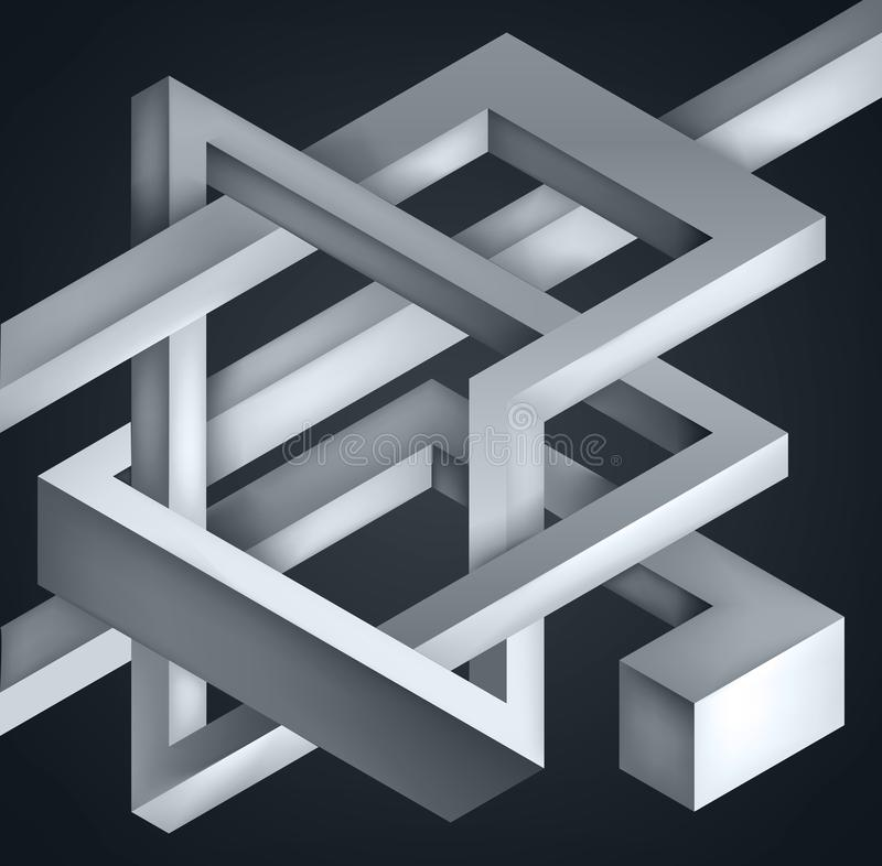 3D Twisted Composition of abstract forms. Shapes puzzle. Vector unreal construction on dark background stock illustration
