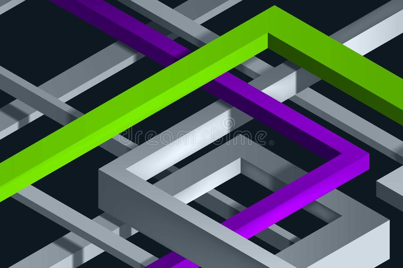 3D Twisted Composition of abstract plexus forms. Labyrinth shapes. Two color lines. Vector unreal construction on dark background stock illustration