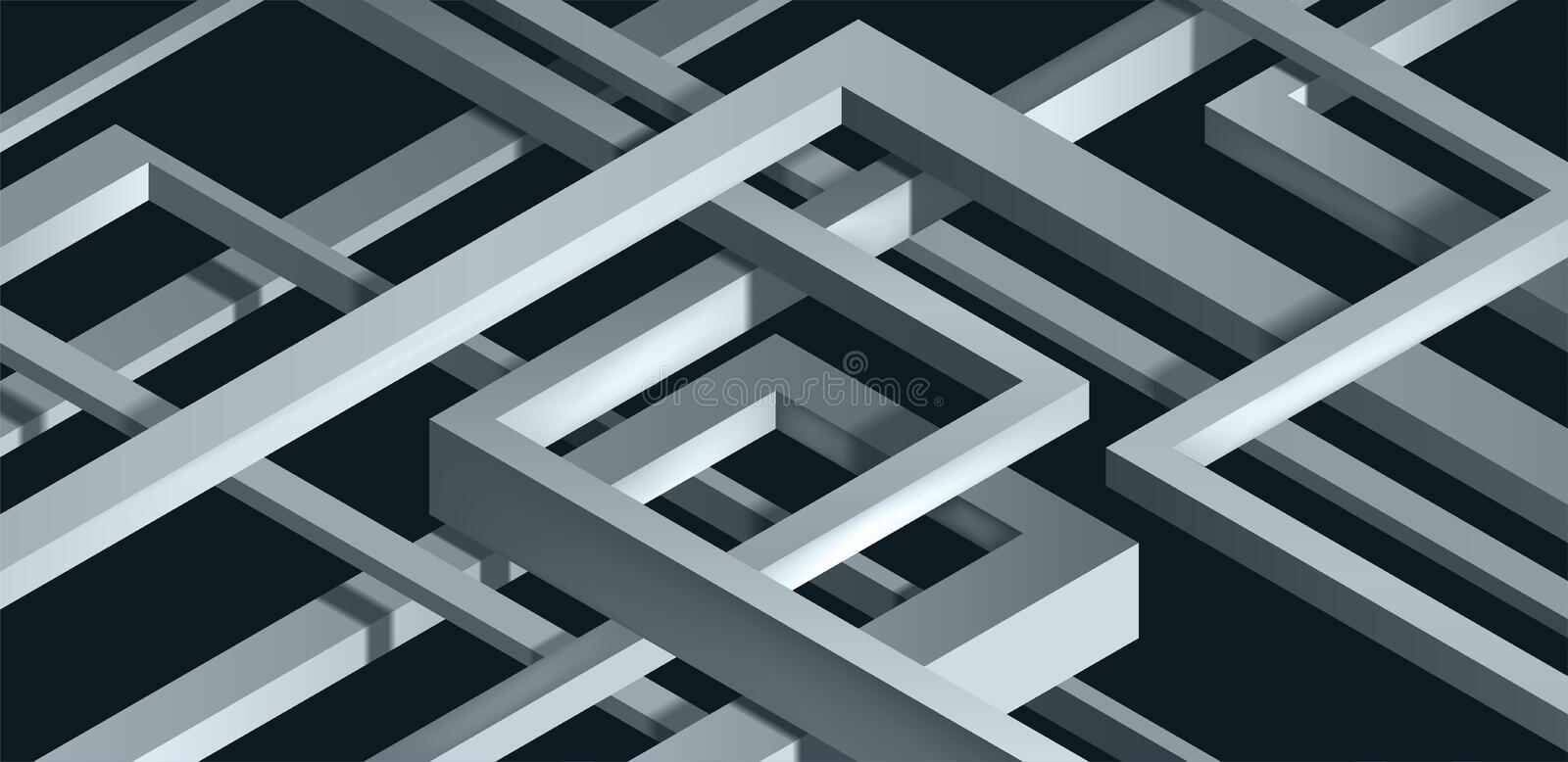 3D Twisted Composition of abstract plexus forms. Labyrinth shapes. Vector unreal construction on dark background royalty free illustration