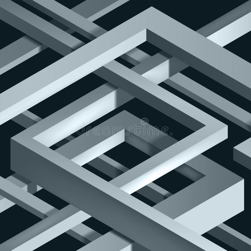 3D Twisted Composition of abstract plexus forms. Labyrinth shapes. Vector unreal construction on dark background stock illustration