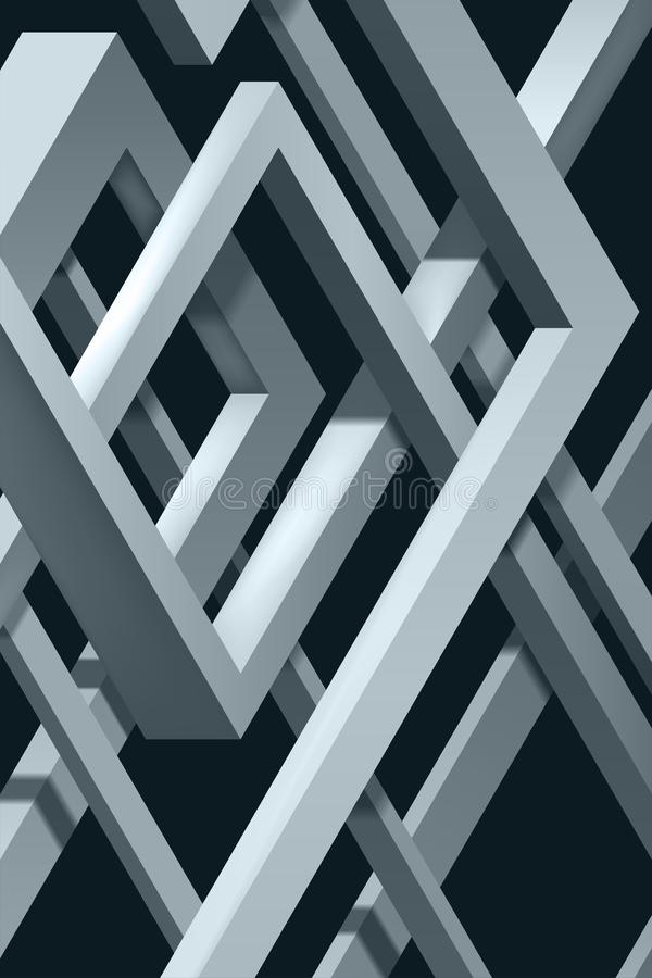 3D Twisted Composition of abstract plexus forms. Labyrinth shapes. Vector unreal construction on dark background vector illustration